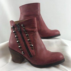 Hibou Red Studded Leather Booties